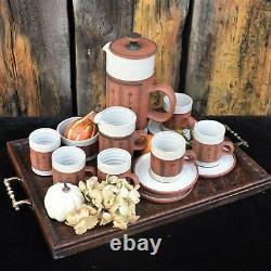 Vintage Kentmere Studio Pottery Coffee Set Mug Teapot England Gordon Barbara Fox