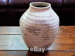 Vintage Large 12 Raku Horse Hair Crackle Glaze Studio Pottery Vase signed