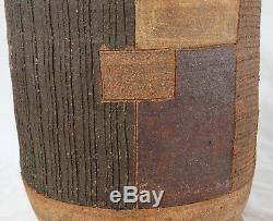 Vintage Large 12 Stoneware Vase Mid Century Modern Geometric Studio Art Pottery