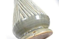 Vintage Large Mid-Century Brutalist Studio Pottery Gray Chevron Vase Triangles