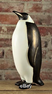 Vintage Large Raku Ceramic Art Studio Pottery Penguin Bird Sculpture Figurine