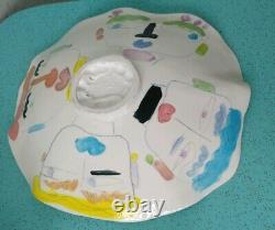Vintage Large Studio Pottery Painting Bowl Portrait Colorful signed Tmast