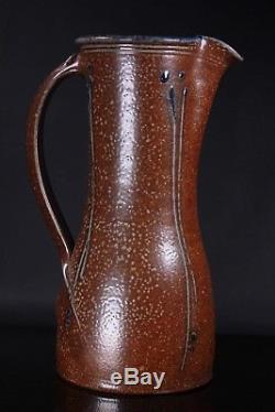 Vintage Large Studio Stoneware Pottery Jug Vase Art Nouveau Design