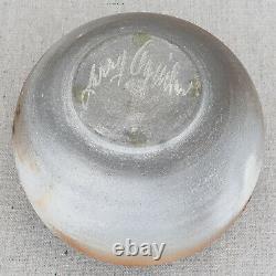 Vintage Larry Aguilar Raku Studio Pottery Vase Canadian Artist Signed 5¼