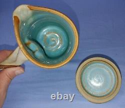 Vintage Liz Kinder Early Pottery Lidded Pitcher Studio Handcrafted Pottery