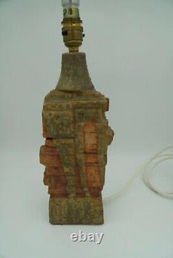 Vintage/MCM BERNARD ROOKE studio Pottery Brutalist Lamp Base. Working