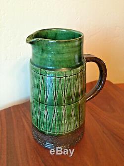 Vintage MCM Danish Studio Pottery Pitcher Vase THOMAS TOFT 7.75 IN Home Decor TT