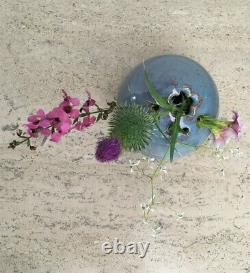 Vintage MCM Signed Japanese Studio Pottery Stoneware Blue Ikebana Vase