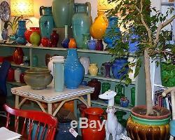 Vintage MCM Studio Pottery Mid Century Ceramic Lamp Signed Turquoise