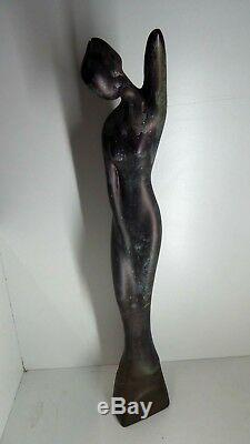 Vintage MD Ellis Pottery Lady Statue Australian Studio Ceramic Mid-century