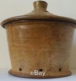 Vintage MICHAEL SIMON Studio Art Pottery Lidded Jar Tenmoku Interior Salt Glaze