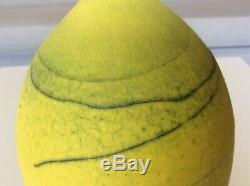 Vintage MID CENTURY Modern Large WEED POT VASE Studio Art Pottery Yellow Signed