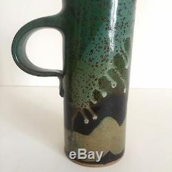Vintage MID Century Modern Studio Pottery Moss Green Tall Handle Mugs A Pair