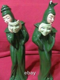 Vintage Madison Ceramic Arts Studio Comedy And Tragedy With Mask Figurines