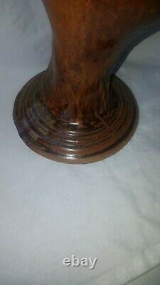 Vintage Mangum Studio Art Pottery Flounder Vase Ashville North Carolina Handmade