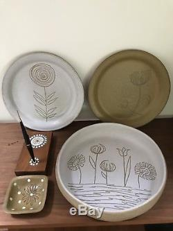 Vintage Martz Art Pottery Marshall Studio 5 Pc Collection Bowl Dishes Pen Holder