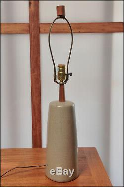 Vintage Martz Marshall Studios Pottery Tan Table Lamp with Wood Finial