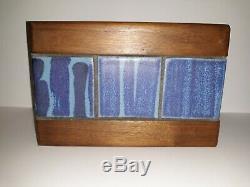 Vintage Martz Pottery Marshall Studio Blue Tile Walnut Mid Century Bookends MCM