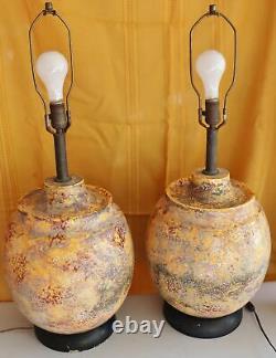Vintage Matching Pair BIG Italian Art Studio Pottery Scavo Glaze Table Lamps MCM