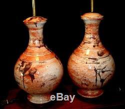 Vintage Matching Pair Italian Art Studio Pottery Drip Glaze Table Lamps MCM