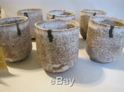 Vintage McCarty's Studio Pottery Signed McCarty 6 Nutmeg Tumblers 14 oz