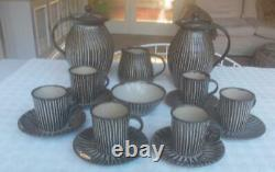 Vintage Michael Leach Yelland Pottery 6 Person Coffee Set With Two Coffee Pots