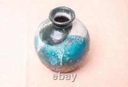 Vintage Mid 20th Century Stoneware Studio Pottery Bulbous Clay Vase