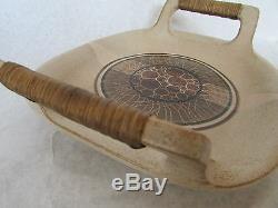 Vintage Mid-Century 70's Art Studio Pottery Serving Tray Reed Handles Bill Davis