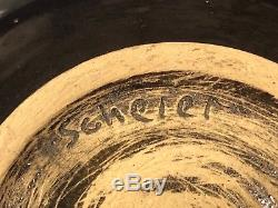 Vintage Mid Century Edwin & Mary Scheier Studio Art Pottery Black Bulbous Bowl
