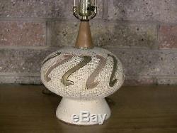 Vintage Mid Century Etched Pottery Lamp Incised Ceramic Wood Studio Art 21 60s