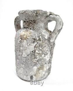 Vintage Mid Century Fat Lava Brutalist Studio Pottery Double Handle Jug Vase MCM