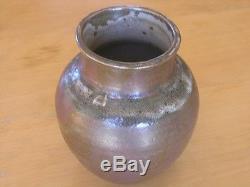 Vintage Mid Century Iridescent Glazed Teadust Green Studio Pottery Vase Signed