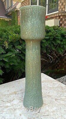 Vintage Mid Century Japanese Studio Pottery 15.75 Tall Ikebana Vase