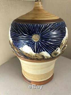 Vintage Mid Century Modern Brutalist Ceramic Bitossi Era Studio Pottery Lamp