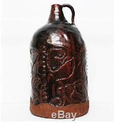 Vintage Mid Century Modern / Brutalist Ceramic Jug Studio Pottery Folk Art