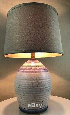 Vintage Mid Century Modern Clay Pottery Purple Glazed Studio Bitossi Era Lamp