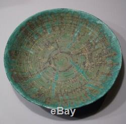 Vintage Mid Century Modern Signed Studio Pottery Bowl Exceptional 14 3/8