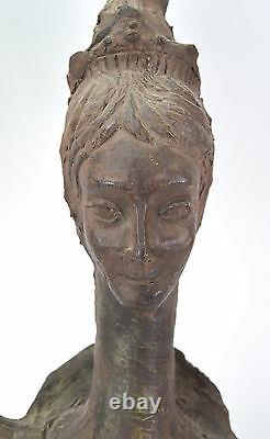 Vintage Mid-Century Modern Studio Art Pottery Sculpture Queen signed Arrigo