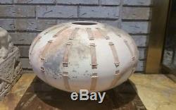 Vintage Mid Century Modern Studio Art Pottery Vase Signed WithWood Pieces