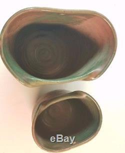 Vintage Mid Century Modern Studio Art Pottery Wall Pocket Vase Font Pink Green