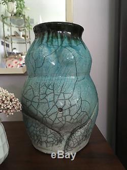 Vintage Mid Century Modern Teal Nude Woman Figure Studio Pottery Vase