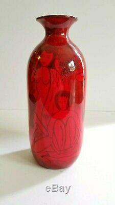 Vintage Mid Century Pillin Style Studio Art Pottery Vase Nude Women Painting MCM
