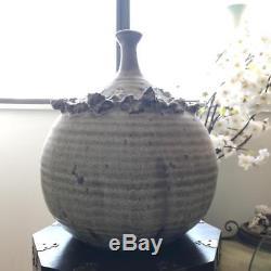 Vintage Mid Century Round Studio Art Pottery Signed Weed Pot Bud Vase