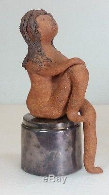 Vintage Mid Century Solveig Cox Studio Pottery Nude Woman Shelf Sitter Figure