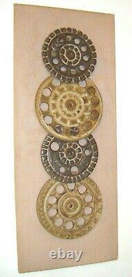 Vintage Mid Century Studio Art Pottery Ceramic'Cogs / Wheels'' Wall Plaque