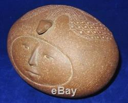 Vintage Mid Century Studio Art Pottery J Edward Barker Figural Face Snake Orb