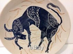 Vintage Mid Century Studio Pottery Hand Painted Plate Bull Signed Andrea