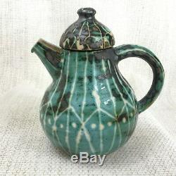 Vintage Mid Century Studio Pottery Jug Hand Painted Art Brutalist Sgraffito