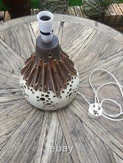 Vintage Mid Century Studio Pottery Lava Volcano Style Lamp Base Double Bulb Vgc