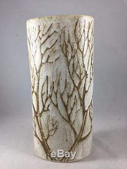 Vintage Midcentury Andersen Studio Pottery Maine Tall Cylinder Vase Tree Design